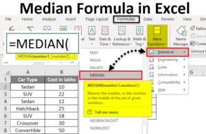 What is median function in excel